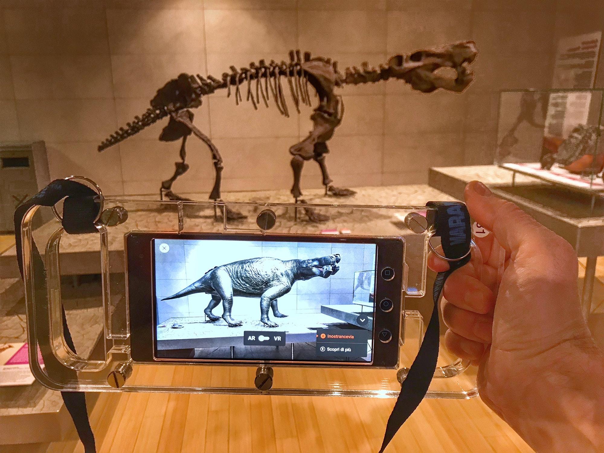 dinosaur skeleton and augmented reality